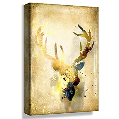 Retro Gold Style Deer - Canvas Art