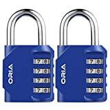 ORIA Combination Lock, 4 Digit Combination Padlock, Metal and Plated Steel Material for School, Employee, Gym or Sports Locker, Case, Toolbox, Fence, Hasp Cabinet and Storage, Pack of 2 (Blue)