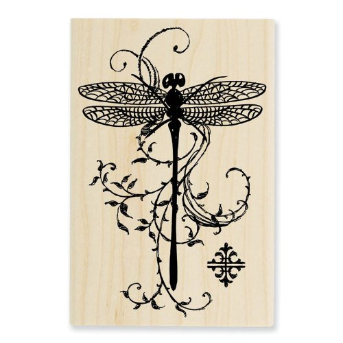 STAMPENDOUS P119 Wood Handle Rubber Stamp, Dragonfly Vine