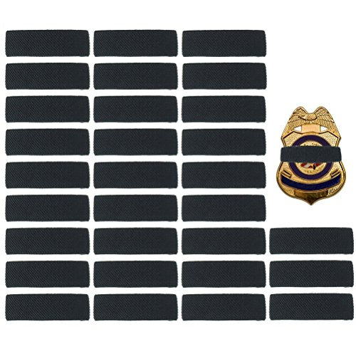 - 30 Pack Black Police Mourning Band Stripe Police Officer Badge Shield Funeral Honor Guard Straps, 1/2