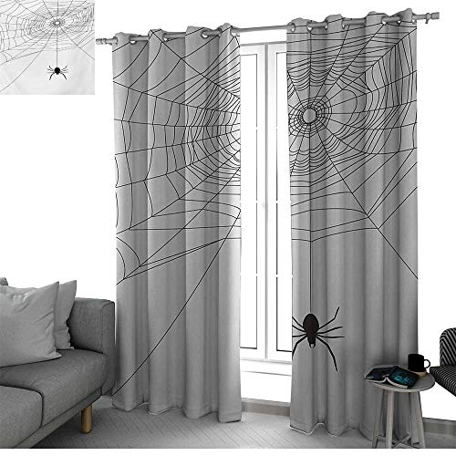 (bybyhome Spider Web Thermal Insulating Window Curtains Complex Doodle Net Sticky Gossamer Hunting Insect Catch Danger Prey Spooky Kids Curtain Black White W96 x L108 Inch)