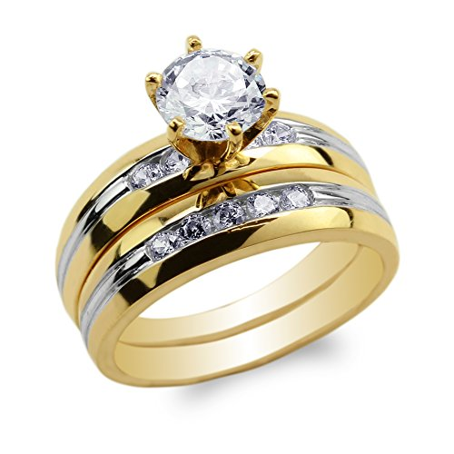 JamesJenny Womens Set 10K Yellow Gold Two Tone Lines Round CZ Solitaire Engagement Ring Size (10 Carat Round Solitaire)