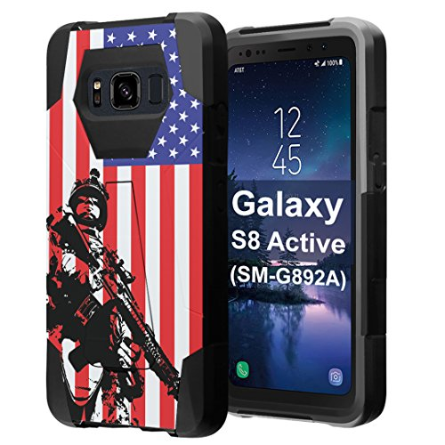 for Galaxy S8 Active, Galaxy S8 Active Case, Capsule-Case Hybrid Fusion Dual Layer Shockproof Combat Kickstand Case (Black) for Samsung Galaxy S8 Active SM-G892A - (Marine USA Flag)