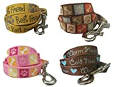 Dog Leash – Themed Poochy Lead for Backyard Dog Walking or Casual Hiking and Pet Training by FurBetter & FurBest (5' x 5/8, Brown - Cold Nose Warm Heart)