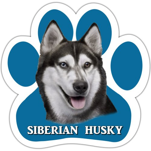 Siberian Husky Car Magnet With Unique Paw Shaped Design Measures 5.2 by 5.2 Inches Covered In UV Gloss For Weather Protection]()