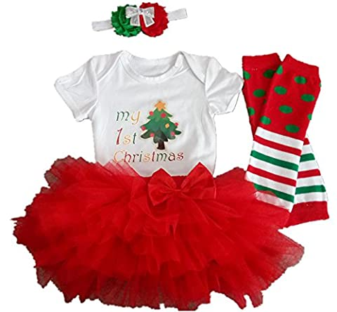 AISHIONY 4PCS Baby Girl My 1st Christmas Costume Tutu Dress Newborn Outfit L,White and Red,9-12 Months