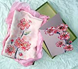 Cherry Blossom Silk Scarf Japanese Silk Scarf Pink Flowers Scarf Hand Painted motif Scarf Painted Batik Sakura Blossom Silk Scarf Unique.