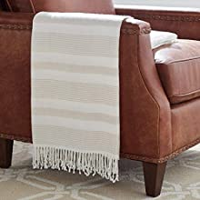 "Stone & Beam Striped Throw Blanket, Soft and Easy Care, 80"" x 60"", Fringed, Natural"