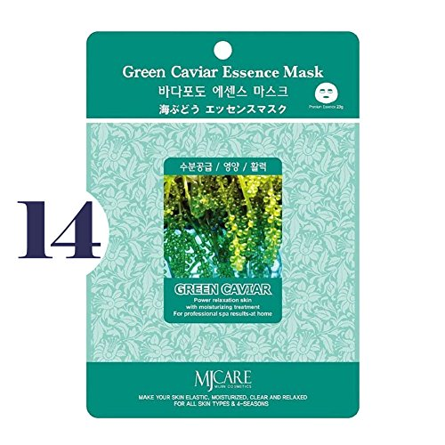 14k Caviar - Pack of 14, The Elixir Beauty MJ Korean Cosmetic Full Face Collagen Green Caviar Essence Mask Pack Sheet for Vitality, Clarity, Mosturizing, Relaxing