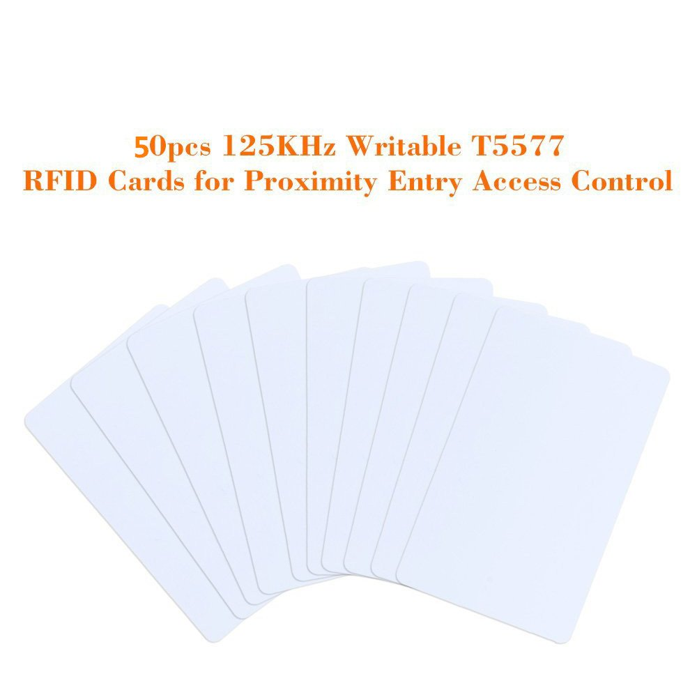100 OBO HANDS 125khz Writable Rewritable White Plastic T5577 RFID Card Proximity Door Control Entry Access