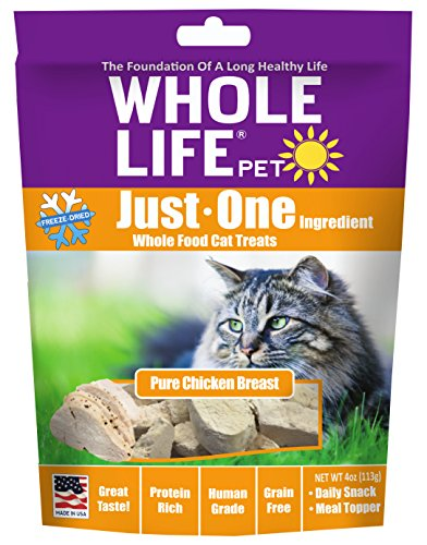 51e95eeETXL - Whole Life Pet Just One-Single Ingredient Freeze Dried Treats for Cats Pure Chicken Breast, 4oz