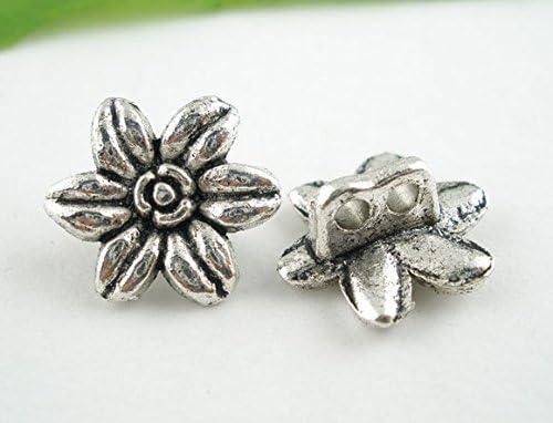 motif fleuri /ø 14 mm 1,9 mm Lot de 10 boutons en m/étal argent vieilli dimension