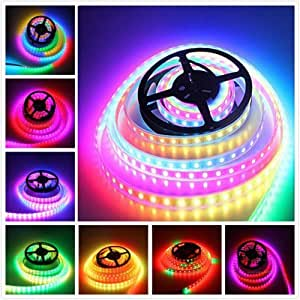 16.4ft/5M WS2812B 300LEDs Pixels Built-in Individually Addressable Non-Waterproof SMD 5050 RGB Dream Color LED String Strip White PCB DC 5V