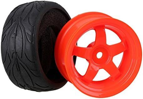 Mxfans RC 1: 10オンロード車ブラック魚スケールパターンラバータイヤ&レッドプラスチック5-spokeホイールリム12mmドライブ六角のセット4