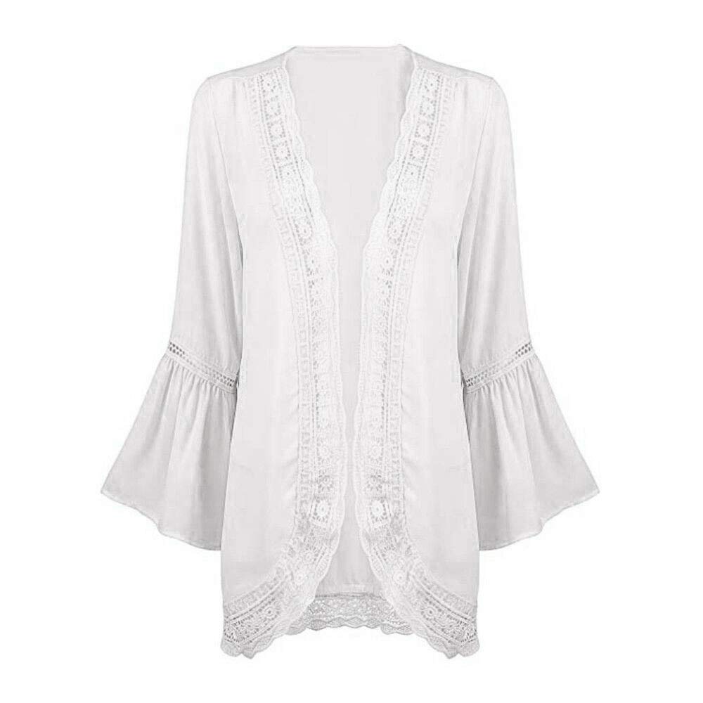 Womens Casual Solid Lace Long Sleeve Chiffon Cardigan Loose Kimono Blouse Tops Chiffon Cardigan