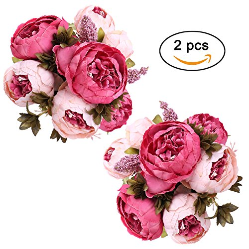 StarLifey Fake Peony Bouquet Silk Peonies Wedding Centerpiece Decoration Spring Simulation Flowers (Dark Pink X2) ()