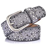Women Faux Leather Belts For Jeans Designer Vintage Pentagram Rivet Belts (Gray, Size 34 (Waist 32'')