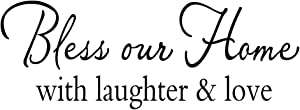 Decaltor Bless Our Home with Laughter & Love - Vinyl Wall Decal Quotes Art Letters Religious Wall Stencil Home Décor