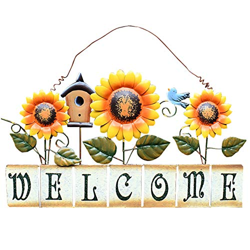 (Attraction Design Vintage Sunflower Decor Welcome Sign for Front Door, Garden Themed Welcome Door Sign Hanging Metal Welcome Wall Plaque Home Garden Decor (Sunflower Welcome Sign-CS))