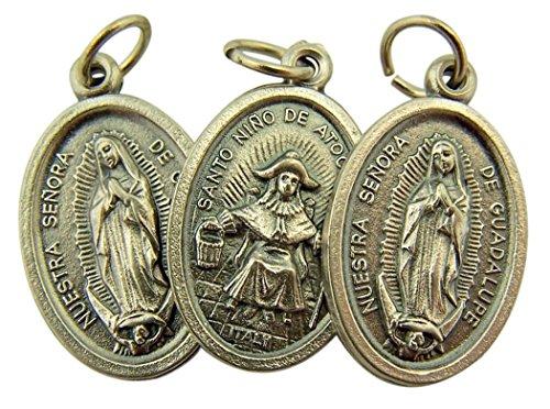 (Religious Gifts Silver Toned Base Nuestra Senora De Guadalupe Santo Nino de Atocha Medal, Lot of 3, 1 Inch)