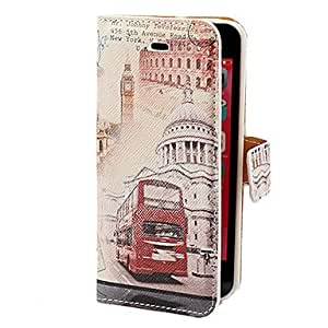 Tqie tubanliudongdongRetro Bus and Building Pattern PU Full Body Case with Card Slot and Stand for iPhone 5C