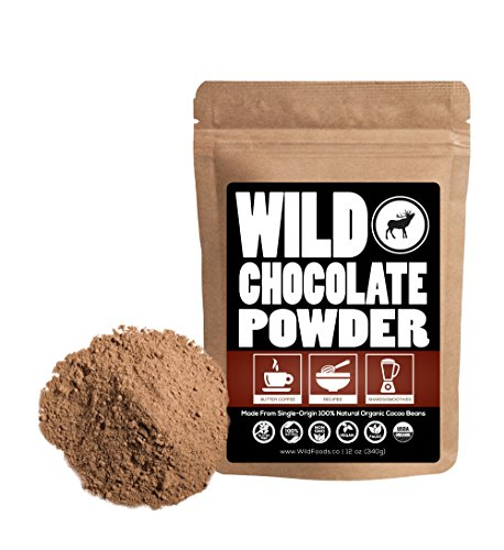 Organic Raw Cocoa Powder, Wild Dark Chocolate Powder, Handcrafted, Single-Origin, Fair Trade, Organically Grown Non-Alkalized Cacao from South American Cocoa beans (12 ()