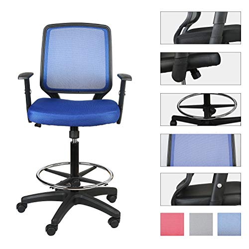 LUCKWIND Office Drafting Chair Mesh - Adjustable Arm Task Ergonomic Lumbar Support Mid Mesh Back Computer Desk Chair Swivel Chair with Adjustable Chrome Foot Rest Big and Tall Tilt (SGS-BIFMA Blue)