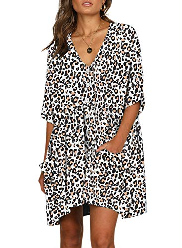 White Tunic Dress - Happy Sailed Women Leopard Short Sleeve Button Down V Neck Casual Loose T-Shirt Swing Tunic Dresses with Pockets Large White