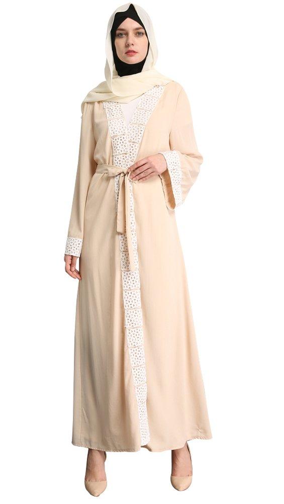 YI HENG MEI Women's Elegant Muslim Islamic Full Length Abaya Coat with Hollow out Border,Beige,M