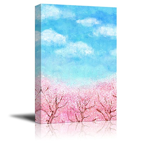 Oil Painting Style Pink Cherry Blossom Under Sunny Blue Sky in Spring