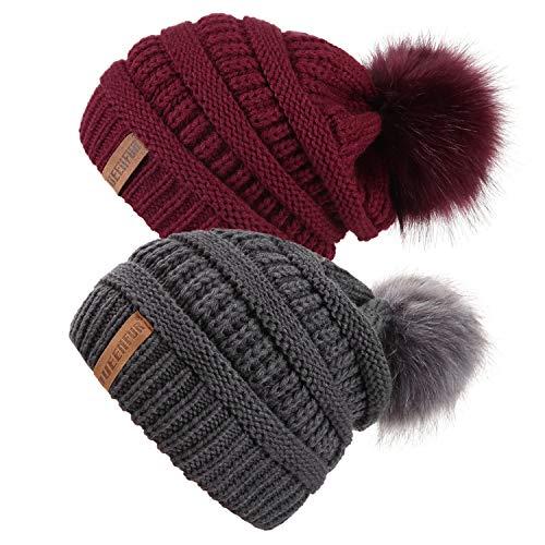 QUEENFUR Women Knit Slouchy Beanie Chunky Baggy Hat with Faux Fur Pompom Winter Soft Warm Ski Cap (2 Pcs Dark Grey/Burgundy)