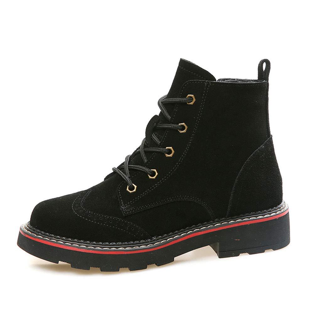 HPLL Schuh Damen Martin Stiefel Stiefeletten Schwarze Stiefeletten einzelne Schuhe Frühling und Herbst Schnürschuhe