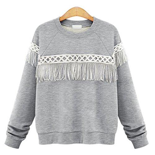 M-Queen Mujeres Sudaderas Jersey de Algodón con Flecos Deportiva Abrigo Camisetas T Shirts Tops gris