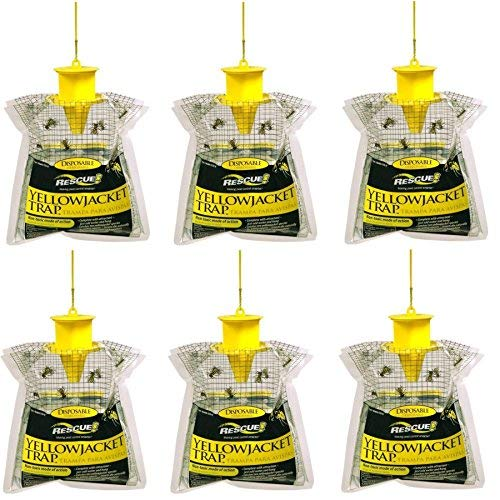 Rescue YJTD-E Disposable Yellowjacket Trap, Outdoor Non-Toxic Mode Of Action, Powdered Attractant Last For Weeks In Summer and Fall, Designed For East Of The Rockies, U.S.A. (Pack of 6) (Pic Yellow Jacket And Wasp Traps 6 Pack)