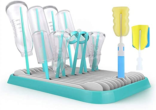 Blue Secador de Botellas,Escurridor para Biberones para beb/és plegables