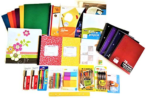 Over 55 Count School Supply Bundle by All Day Gifts, for Middle, High School and College - Binder, Mechanical Pencils, Sharpie, Pens, Hi-liters, Folders, Note Books Plus More - College Ruled (Best Binders For College Students)