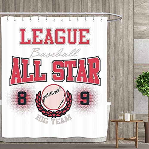 Big League Collection Bath - Anniutwo Kids Shower Curtain Collection by College Baseball Softball Player League All Star Big Team Badge Champion Sports Themed Decorations Patterned Shower Curtain 66