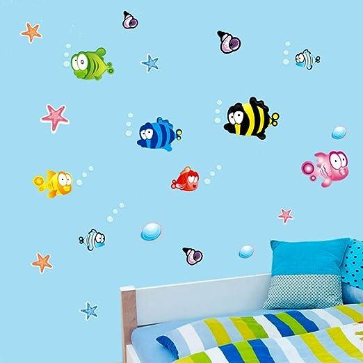 EBONP Etiqueta engomada Pared Burbuja Estrellas mar los Peces bajo ...