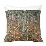 Zazzle Birch Forest By Gustav Klimt, Vintage Art Nouveau Lumbar Pillow 16'' x 16''