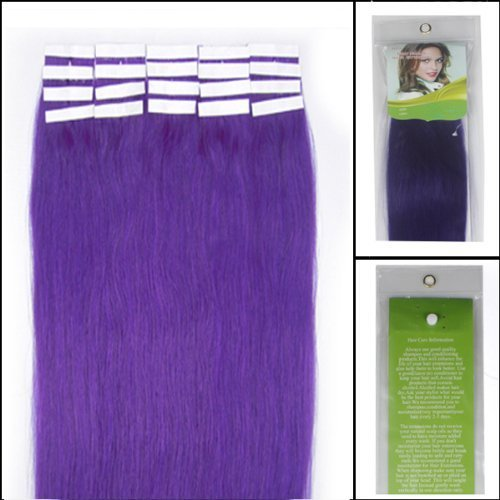 18 Inch Color Long Lila/light Purple Tape in Premium Remy Human Hair Extensions_20 Pcs Set 40g Weight Straight Women Beauty Salon Style Design