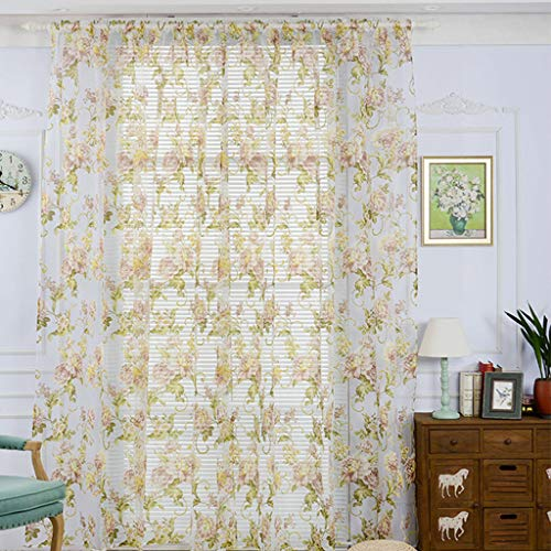 (Beyonds Sheer Curtains Panels for Livingroom - ♥ Breathable Window Kitchen Shower Curtain Khaki Peony Ventilation Insulation Voile Treatment Patio Door Drapes)