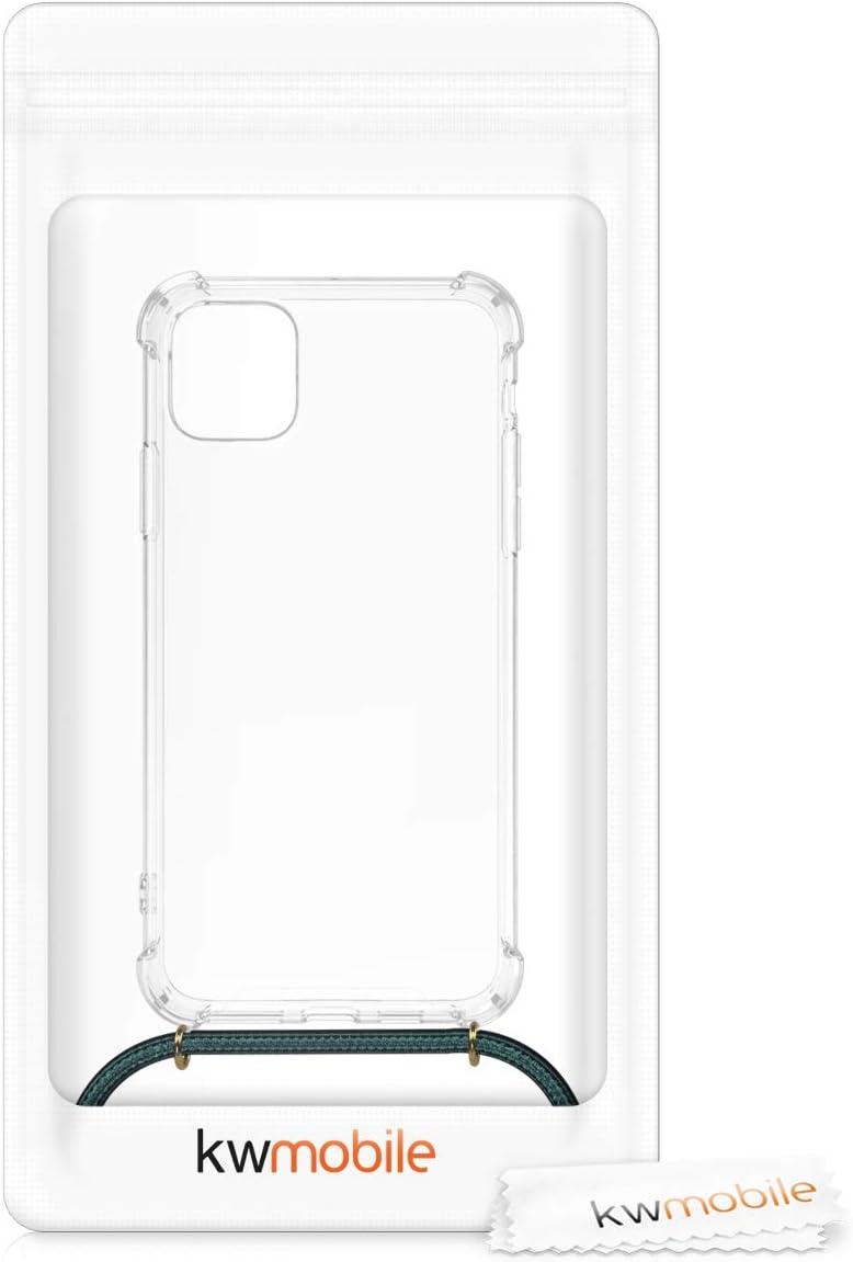 kwmobile Funda con Cuerda Compatible con Apple iPhone 11 Pro MAX Carcasa de TPU con Colgante Mapa del Mundo Negro//Transparente