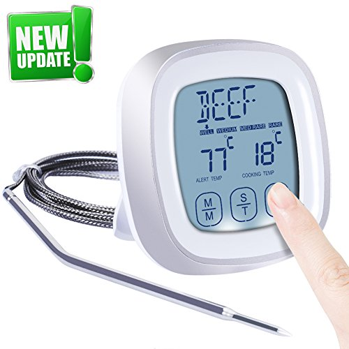 Digital Meat Thermometer Instant Read (2-4s) For Grilling Cooking Food BBQ or Candy,Wireless Waterproof For Kitchen ,Oven,Grill,Water,Beer,Milk, Bath Water Probe,Steak, Indoor Outdoor (white) (Thermometer Cooking)