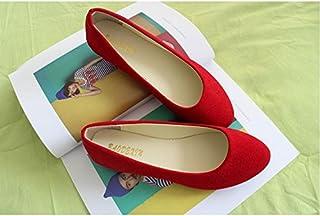 LvYuan Scarpe da donna/pelle scamosciata/ufficio & carriera/tacco piatto/comodità casual/moda casual/mocassini & scarpe da ginnastica/scarpe pigro camminate, Red, CN41