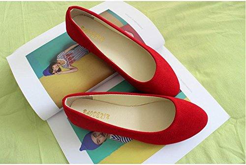 scamosciata casual tacco amp; CN40 donna scarpe moda piatto Red Scarpe da pigro casual carriera amp; LvYuan ginnastica comodità mocassini pelle ufficio camminate da scarpe wqIpCO