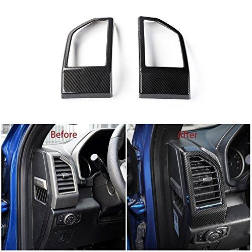 Fiber Carbon Dash Panels (Voodonala Black Carbon Fiber Texture Side Dashboard Panel Outlet Vent Covers Trim for Ford F150 2015 2016 2017)