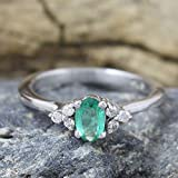 Emerald, Diamond 925 Sterling Silver Engagement Ring