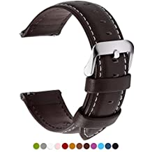 12 Colors for Quick Release Leather Watch Band, Fullmosa Axus Genuine Leather Watch Strap 18mm, 20mm, 22mm or 24mm (choose the proper size)