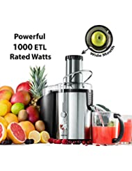 Gourmia GJ1250 Wide Mouth Fruit Centrifugal Juicer - Juice Extractor with Multiple Settings 32 oz - Stainless Steel - ETL (1000 Watts)