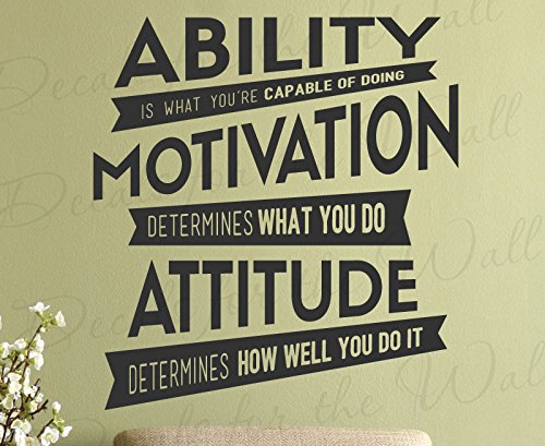 Ability Is What Youre Capable Of Doing Motivation Attitude Determines How Well You Do It – Lou Holtz Character Inspirational Motivational Inspiring Positive – Decorative Vinyl Wall Decal Lettering Art Decor Quote Design Sticker Saying Decoration